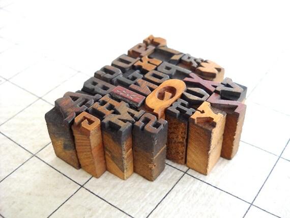 A to Z - 26 Mini Vintage Wooden Alphabets - Mini & Micro Series - MV61