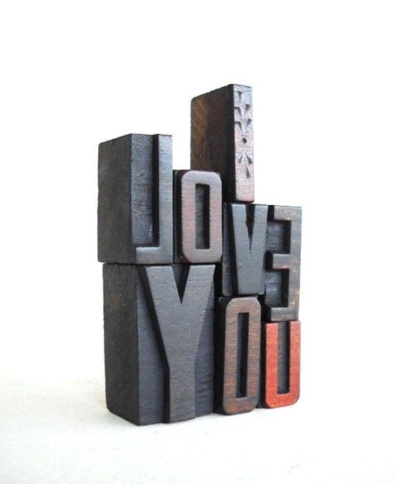 I Love You -8 Vintage Letterpress Wooden Letters Collection VG27