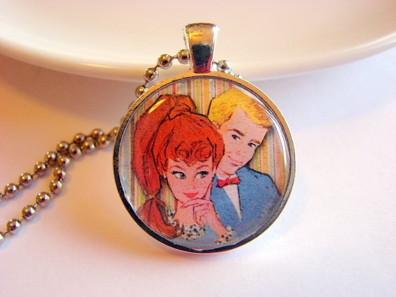 Vintage Barbie and Ken Pendant Necklace - Paper Resin and Metal - Retro - With Chain