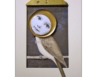 Steampunk Bird digital print --Sweet Sparrow's Song