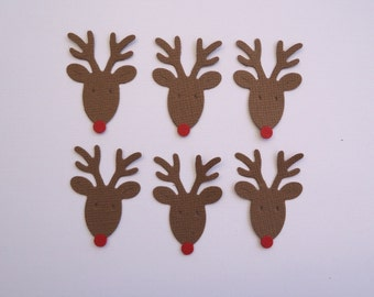 6 Mini Reindeer with Red Nose Die Cuts for Scrapbooking Cards and Paper Crafts Christmas Embellishment