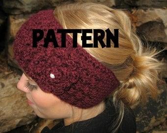 Crochet PDF PATTERN for Headband headwrap and flower