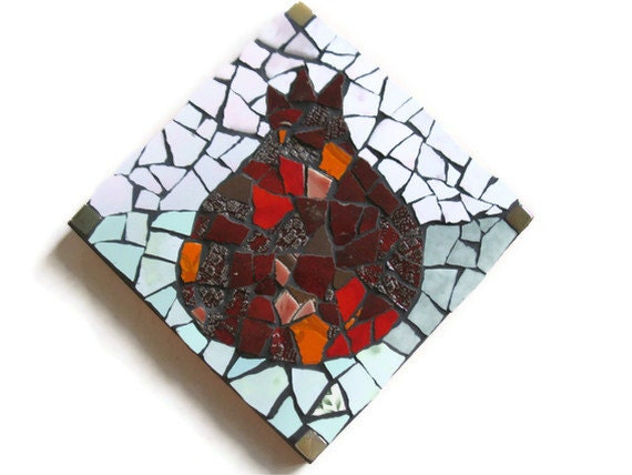 Red Pomegranate Mosaic Ceramic Tile Broken Pottery Wall Art Hanging Home Decoration Abundance