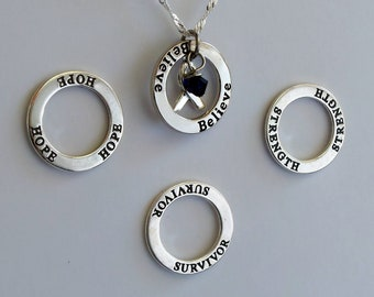 Strength- Survivor - Hope - Believe - Custom Reye's Syndrome, Colon Cancer Awareness Inspirational Necklace - Sterling Silver