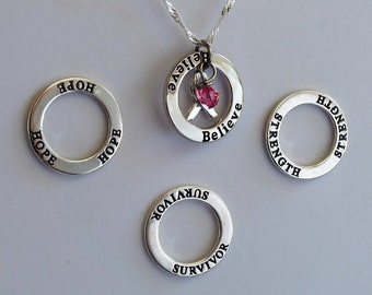 Strength- Survivor - Hope - Believe - Custom Breast Cancer Awareness Inspirational Necklace - Sterling Silver