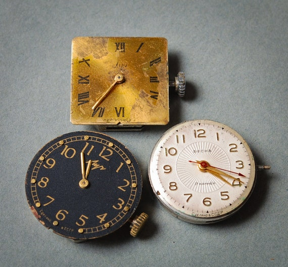 Set of 3 Vintage watch movement, watch parts, watch faces (MS)