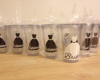 Quantity 9 Bridal Party gift Personalized acrylic tumbler w/ lid and straw, Bride, Bridesmaid dress design, 16 or 32 oz, other styles/sizes
