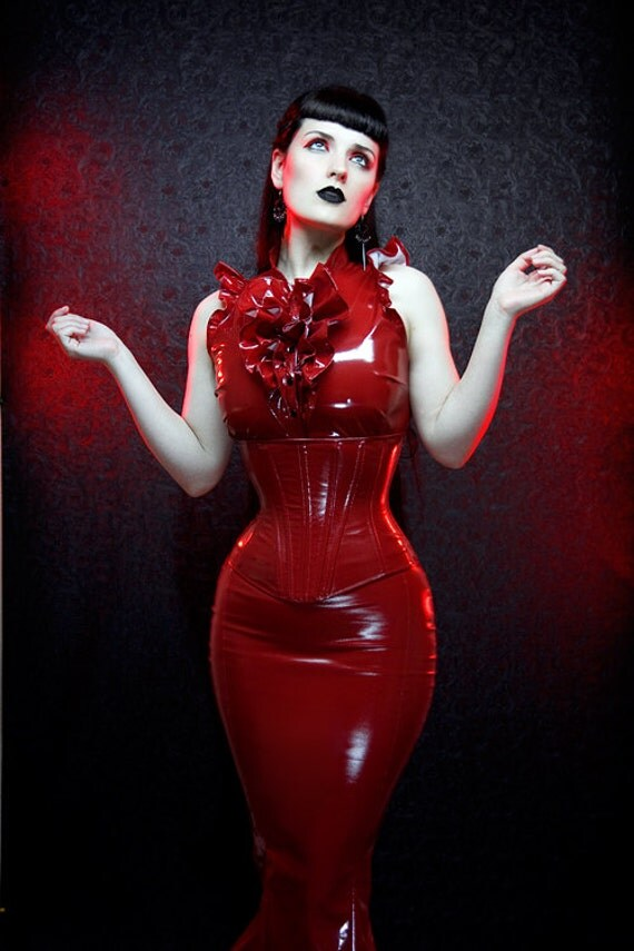 Crimson PVC Tuxedo top by Artifice Clothing in size small (photoshoot sample ready to ship)