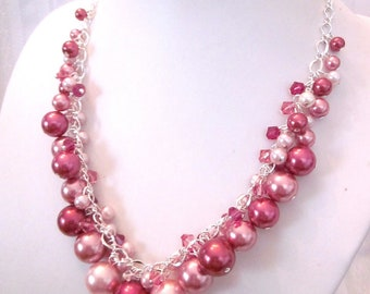 Shades of Rose Pearl and Crystal Cluster Necklace - Chunky, Choker, Bib, Necklace, Wedding, Bridal, Bridesmaid