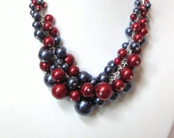 Pearl Cluster Necklace Set in Navy and Crimson Red - Chunky, Choker, Bib, Necklace, Wedding, Bridal, Bridesmaid, Prom