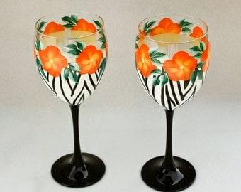 Hand Painted Wine Glasses, Zebra Print