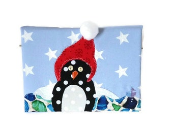 Christmas Penguin Fabric Art