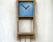 Kitchen Clock - pallet wood Shelf hanging hooks rack