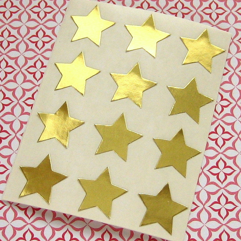 108 Gold Star Sticker Seals 3 4 Inch