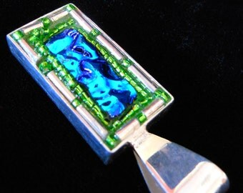 Blue dichroic glass and bead pendant