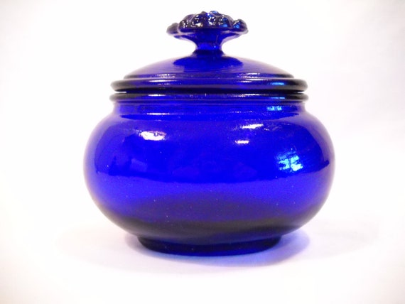 Vintage Cobalt Blue Trinket Holder