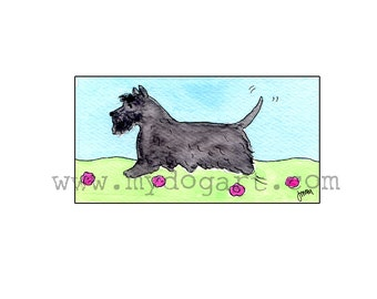 Whimsical Scottish Terrier print 5x7