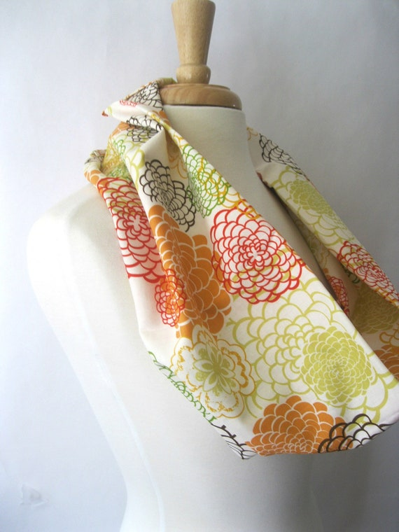 Autumn Mums Cowl Scarf in Orang Brown Yellow and Cream Designer Print Eclectic Infinity Scarf