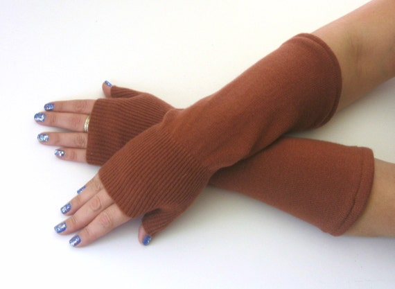 Cashmere Fingerless Gloves - Rust Orange Texting Gloves - Wrist Warmers : Upcycled Recycled Repurposed