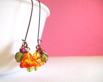 Dangle Earrings with ORANGE Bell Flowers, Green, and Purple Beads