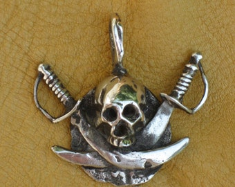Sterling Silver Jolly Roger Pirate Pendant
