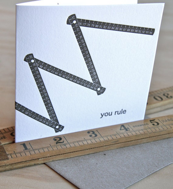 Valentine's Day, Father's Day, Mother's Day You rule - all occasion letterpress card, witty, punny card, vintage folding wooden ruler