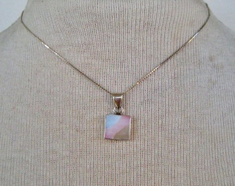 SALE 20 PERCENT Off Vintage Signed .925 Sterling Silver Mother of Pearl MOP Shell Inlay Blue Pink Ivory Shell Pendant Chain Choker Necklace