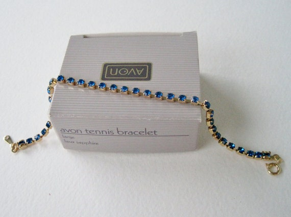Vintage 1992 Traditional Preppy Unsigned Avon Size LARGE Gold Tone Prong Set Sapphire Blue Rhinestone Tennis Bracelet in Original Box NIB
