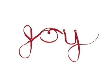 "Red Ribbon (joy ribbon writing) ...1/4"" X 8 yards"