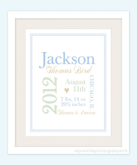 Personalized Baby Boy 11x14 Typography Birth Poster - Custom Color Wall Art