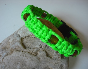 Lime Green Dog Collar with Amber Glass Beads