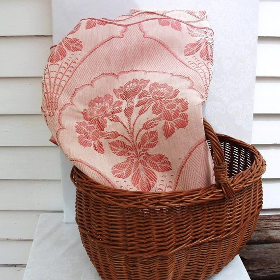 RESERVED for Susan Galise      Vintage Blanket, Bed Spread, Bed Cover, Pink  Cream Coverlet