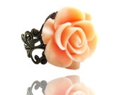 Get 15% OFF - Vintage Peach Resin Rose Flower Antique Bronze Filigree Ring - Valentine's Day SALE 2016