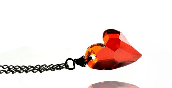 Swarovski Red Magma Heart Crystal Gunmetal Necklace (Get 12% OFF with COUPON CODE for Special Sale)
