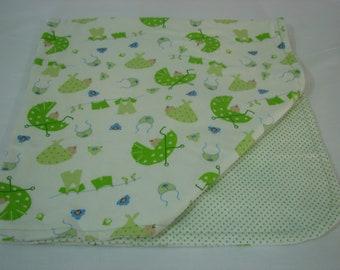 Receiving Blanket - Baby Things - flannel - white - neutral - reversible