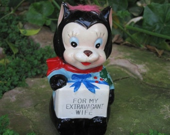Vintage Coin Bank, For My Extravagant Wife Ceramic Coin Bank, Cat Bank, Christmas Gift