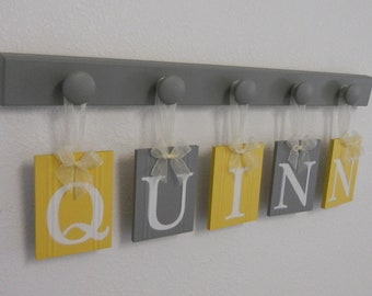 Nursery Name Sign | Name Plaque for Baby Boy | Baby Girl Room | Sign Nursery Name Letters | Baby Name Signs | Letter Names | Yellow Gray