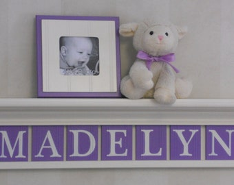 "Lavender Purple Personalized Children Nursery Decor 30"" Linen (Off White) Shelf with 7 Letter Wooden Tiles Painted Lilac - MADELYN"