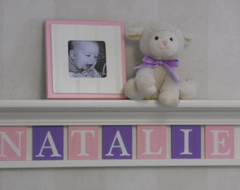 """Pink Purple Personalized Children Nursery Decor 30"""" Linen (Off White) Shelf - 7 Letter Wooden Tiles Painted Lilac and Pastel Pink - NATALIE"""