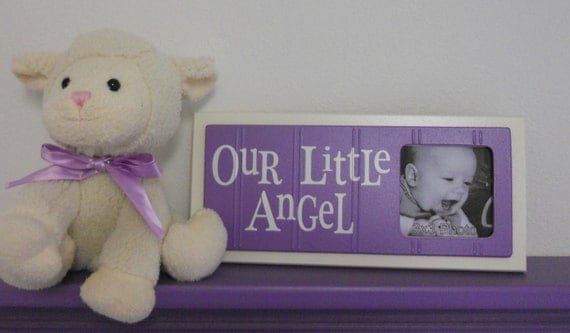 Purple Baby Girl Nursery Decor - OUR LITTLE ANGEL - Picture Frame Sign - Baby Girl Lavender Nursery
