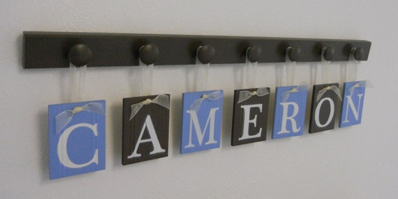 Alphabet Wooden Letters. Set Includes 7 Peg Display and Babies Name CAMERON Painted Light Blue & Brown. Baby Boy Room Wall Decor
