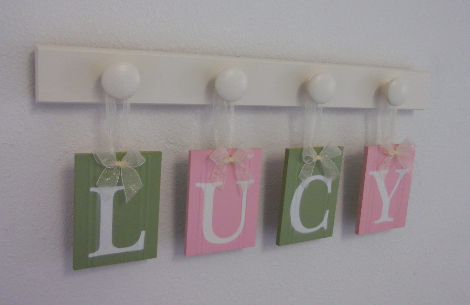 Nursery Wall Hanging Baby Letters On Wall For LUCY In Pink And