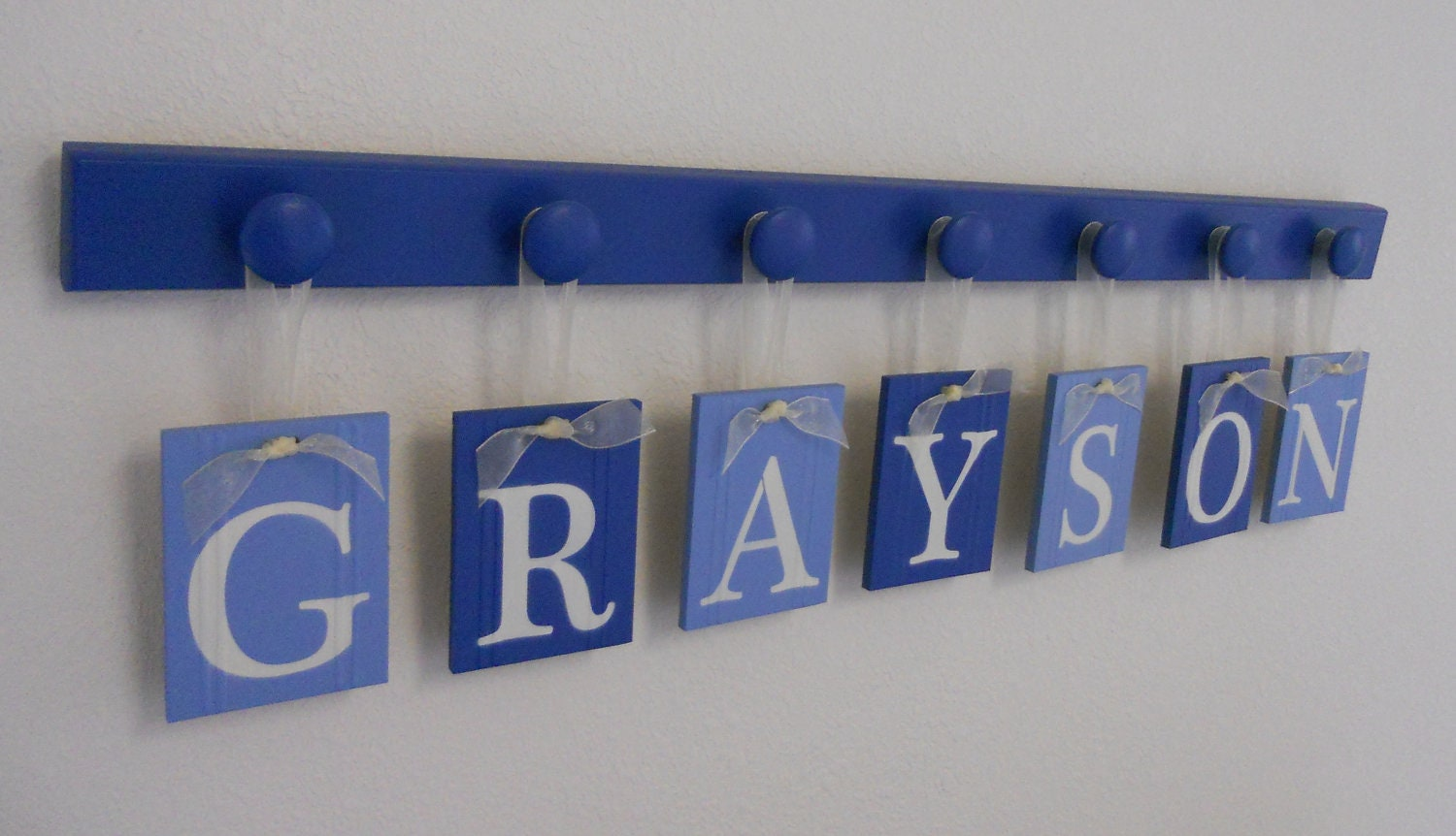 Baby boy nursery decor hanging wall letters name grayson with for Baby room decoration letters