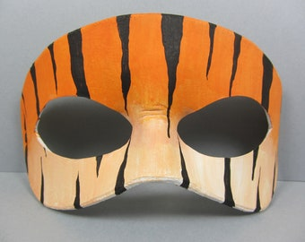 Tiger Print Leather Mask, Unisex
