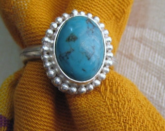 Natural Persian Turquoise Granulated Silver Ring, Size 8 & a Half