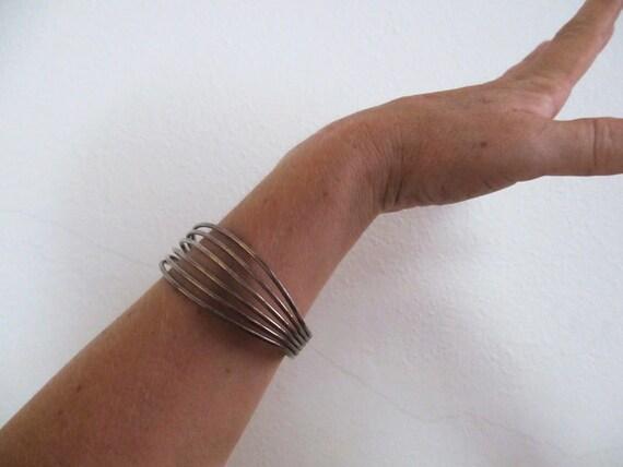 Modernist Mexican Sterling Cuff Bracelet Stylish Vintage nice patina