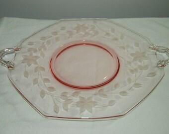 Pink Depression Glass Cake Plate or Serving Platter / Pink Depression / Serving Dish / Cake Plate / Cupcake Holder /Wedding Display