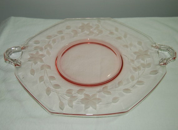 Images Pink Depression Glass Cake Platter With Cake Plates