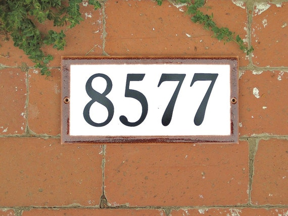 Tile House  Numbers plaque 5 X 10 BROWN Border