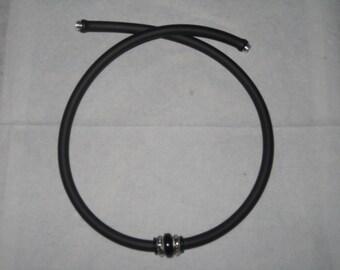 Mens Matte Black Rubber Necklace -  Double Metal Ring